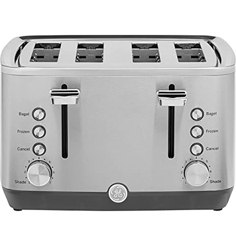 GE Stainless Steel Toaster | 4 Slice | Extra Wide Slots for Toasting Bagels, Breads, Waffles & More | 7 Shade Options for the Entire Household to Enjoy | Countertop Kitchen Essentials | 1500 Watts