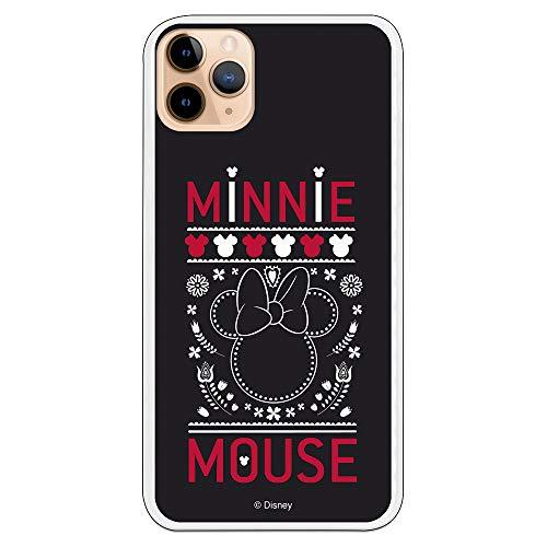 Funda para iPhone 11 Pro MAX Oficial de Clásicos Disney Minnie Negro Bordado para Proteger tu móvil. Carcasa para Apple de Silicona Flexible...
