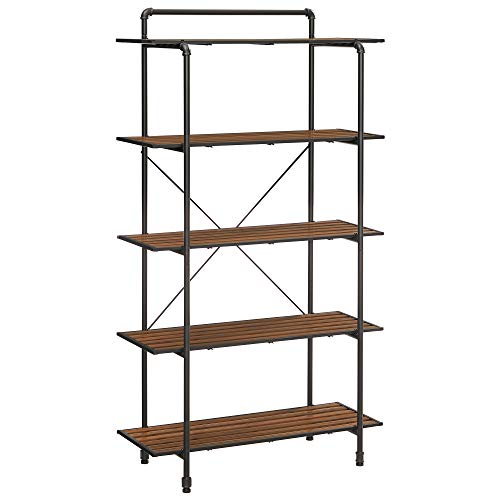 URBENCE 5-Tier Storage Rack Bathroom Shelf Plant Stand with Steel Pipes Industrial for Living Room Balcony Rustic Brown and Black UBSC103B01