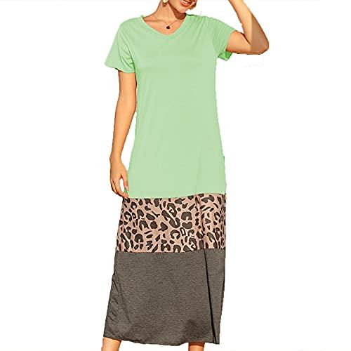 Primavera Y Verano Mujer Casual Suelta Estampado De Leopardo Costura De Manga Corta con Cuello En V Vestido Falda Larga Mujer