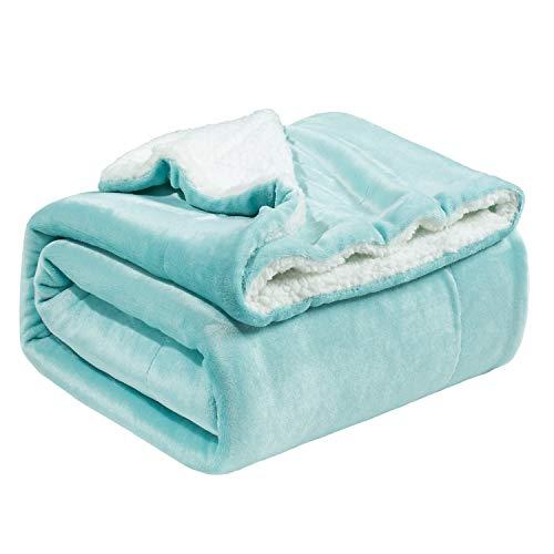 Bedsure Sherpa Fleece Blanket Throw Blanket - Lake Green, Thick Blanket Plush Warm Blanket Fuzzy Soft Cozy Blanket Microfiber