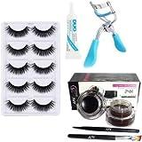 ClubComfort 5 Pair Eyelash, 1 Eyelash Glue, 1 Eyelash Curler, Gel eyeliner Black