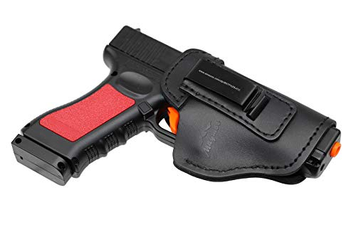 MAYMOC The Defender Funda de Cuero IWB para S&W M&P Shield - Glock 17-19 19 22 23 32 33 / Springfield XD & XDS/Plus Todas Las Pistolas de tamaño Similar (Correcto)