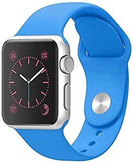 BKYMC Compatible with Apple Watch Band 38mm 42mm for Women and Men, Soft Silicone Sport Strap Replacement Bands Compatible with iWatch Series 4/3/2/1 (38mm/40mm,Light blue)
