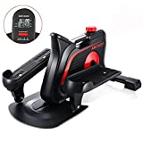 ANCHEER Mini Elliptical Machine, Compact Fitness Exercise Trainer with Adjustable Resistance & Built-in Monitor, Free Installation Quiet Stand Up Trainers for Home Office (Dull Black)