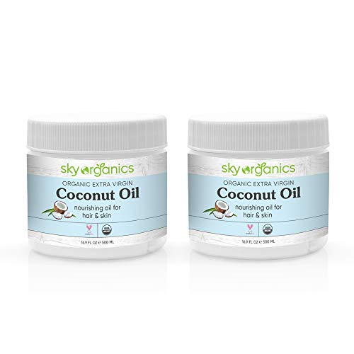 Organic Extra Virgin Coconut Oil by Sky Organics (16.9 oz x 2 Pack) USDA Organic Coconut Oil Cold-Pressed Kosher Cruelty-Free Unrefined Coconut Skin Moisturizer Hair Mask