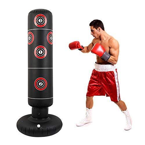 ODOMY Sac de Frappe Boxe Gonflable sur Pied,160CM Punching Ball Adultes Enfants Convient pour l'exercice À la Maison Intérieur et...