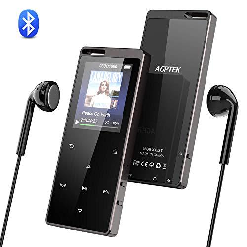 AGPTEK MP3-Player mit Bluetooth 4.0, 16 GB, schlankes Metall-Farbdisplay, HiFi, MP3-Player, Musik-Player, unterstützt FM-Radio, Vedio-Aufnahme, Schwarz