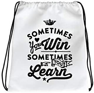 IMPRESS Drawstring Sports Backpack White with Sometimes You Win Quote
