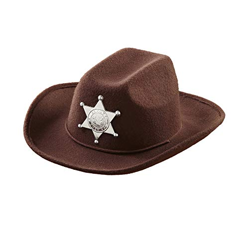 BROWN COWBOY HAT W/SHERIFF STAR - CHILD SIZE , color/modelo surtido