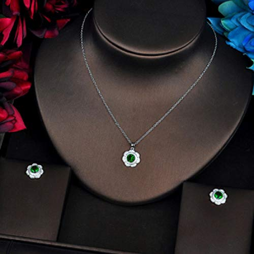 YRCBQJBE Trendy Green Flower Shape Link Chain Pendant Women Bridal Jewelry Sets Necklace Sets Earings Fashion Jewelry Women's Jewelry (Color : Platinum Plated)