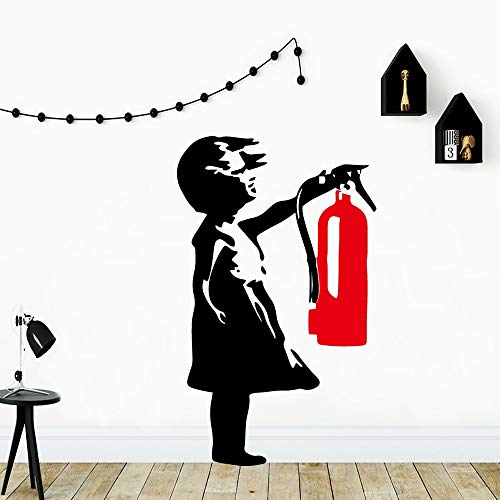 JXMN Moderne Mädchen Feuerlöscher Wandaufkleber dekorative Aufkleber Kinderzimmer Hauptdekoration Hauptdekoration Kunst Aufkleber 42x69cm