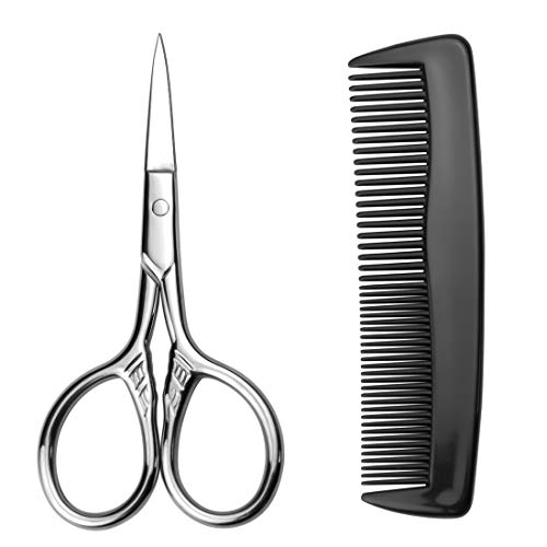 Small Grooming Hair Scissors and Comb - AUMELO Stainless Steel Vintage Facial Hair Scissors Shears for Facial Hair Eyebrow Eyelash Beard Moustache Scissors - 3.5 inch