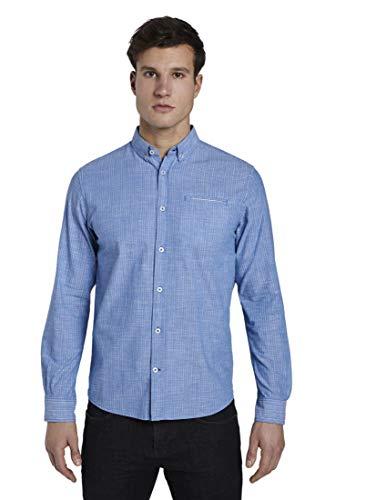 TOM TAILOR Herren Blusen, Shirts & Hemden Kariertes Hemd mit Paspeltasche Blue White Stripe,L