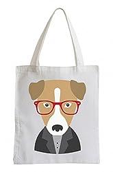 Jutebeutel Hund mit Brille