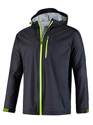 GEEK LIGHTING Men's Waterproof Hooded Rain Jacket, Lightweight Packable Raincoat for Outdoor, Camping, Travel (H-black(rain Jacket), Medium)