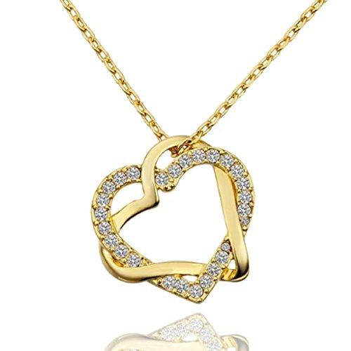 Daesar Joyería de Moda Collar Gargantilla 45-50cm Chapado en Oro Colgante de Doble Corazón Entrelazado con Cristal Collar Oro Rosa