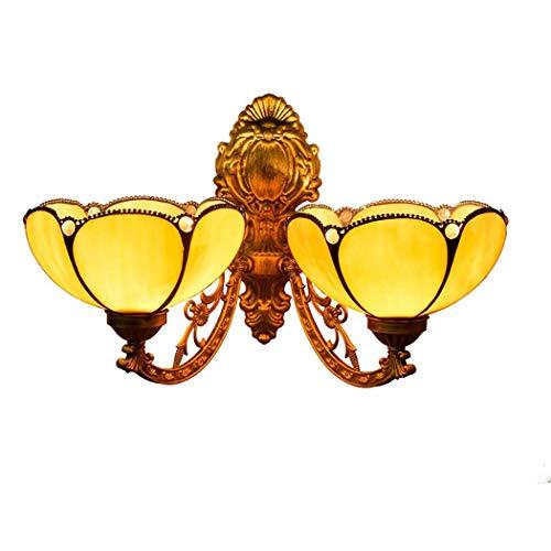 Luces De Pared De 8 Pulgadas En Estilo Tiffany Americano, Sencillo, Medio Curvado, Amarillo, Lámpara De Pie De Pila Hecha A Mano