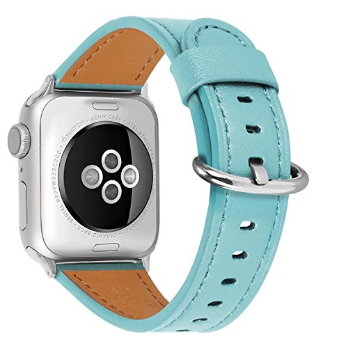 HUAFIY Compatible for apple Watch Band 38mm 40mm 42mm 44mm women Top Grain Leather Band Replacement Strap iWatch Series 6,Series 5, 4?3, 2 1,Sport, Edition (Tiffany Blue band+Silver Buckle, 38mm40mm)