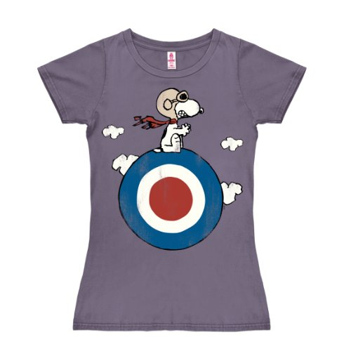 Logoshirt Camiseta para Mujer Snoopy - El Blanco - Peanuts - Snoopy - Target - de Color - Lavanda - Diseño Original con Licencia, Talla XS