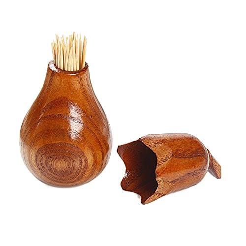 XIAOSKY Soporte de palillo de Dientes Creativo de Madera Forma de Calabaza Almacenamiento Jarra Organización del azúcar Cajas Condimento Botellas Accesorios de Cocina