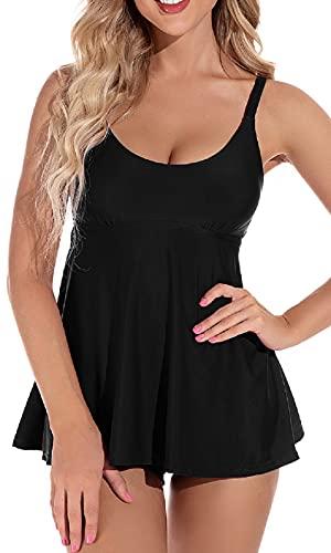 UMIPUBO Conjunto de Bikini para Mujer Traje de Baño en Dos Piezas Tankini Vest + Short de Baño Traje Conjunto de Bañador Swimsuit Ropa de Playa (Negro, S)