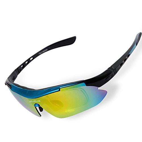 Sava Gafas de Sol Deportivas Polarizadas Tr90 Manera Reflexiva de Deportes Al Aire Libre Para Bicicleta Actividades con 5 Lentes de Ciclismo Gafas Sol Ciclismo Deporte(Azul)