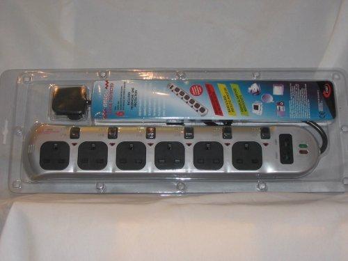 Omega 6-fach-Steckdose, Überspannungsschutz für Telefonleitung