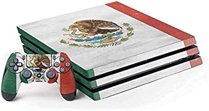 Skinit Decal Gaming Skin for PS4 Pro Console and Controller Bundle - Originally Designed Mexico Flag Distressed Design