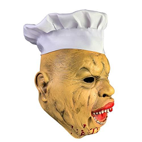 YSAGNZQ Bloedige Gek Chef Halloween spookhuis Horror Maskers Latex Jurk Caps Hoofddeksels