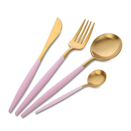 Buyer Star Set de Cubiertos para 1 Acero Inoxidable 304 18/10 Set de Cubiertos Oro de Lujo Coloreado con Una Hermosa Manija Rosa