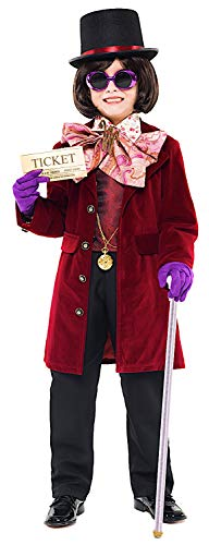 Niño Disfraz de fábrica de chocolate Charlie chicos Willy Wonka Traje de fiesta de Semana Libro
