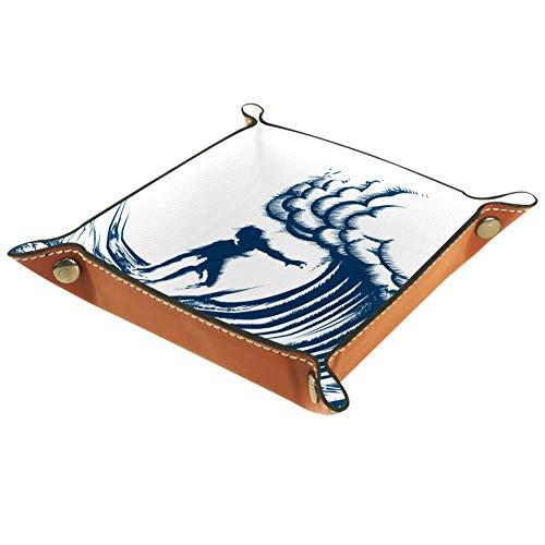 DJROWW Aufbewahrungsablage mit Retro-Gravur, Surferreiten, große Wellen, Schreibtisch-Aufbewahrungsteller für Schlüssel, Geldbörse, Schmuck, Telefon, Heimdekoration, Multi, 20,32 cm (8 Zoll)