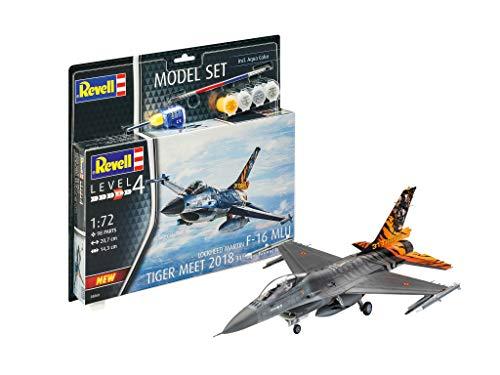 Revell 63860 Model Set F-16 MLU 31 SQN. Klein originalgetreuer Modellbausatz für Fortgeschrittene, mit Basis-Zubehör, unlackiert