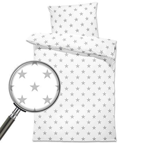 Baby Bettwäsche Set 100x135 cm - Kinderbettwäsche Babybettwäsche mit Kissenbezug 40x60 aus Baumwolle, Weiß mit Grauen Sternen