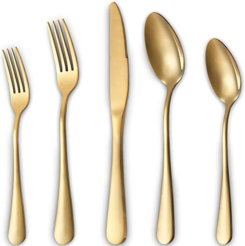 Gold Silverware Set, 20-Pieces Flatware Set Stainless Steel Cutlery Set Service for 4,Include Knife/Fork/Spoon,Mirror Polished,Dishwasher Safe