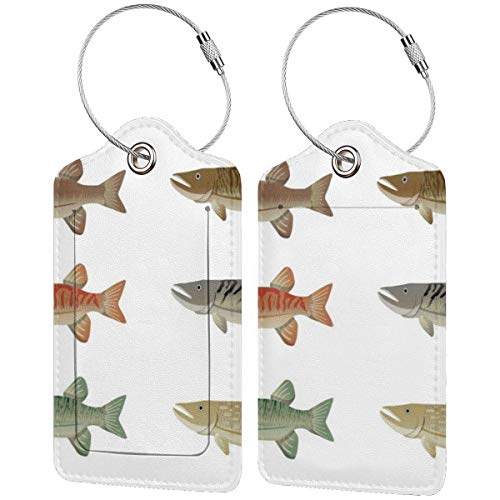 Set of Muskie Fish Luggage Tags Suitcase Carry-on Id Intial Bag Holders with Adjustable Straps for Travel Business,2 per Set