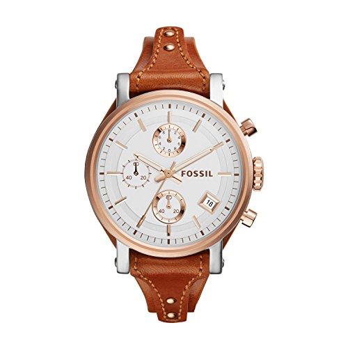 Fossil Original Boyfriend - Reloj análogico de cuarzo con correa de cuero para mujer, color marrón/plateado