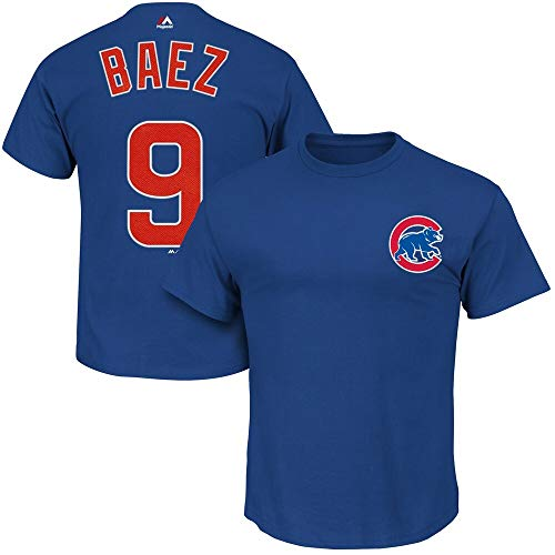 OuterStuff Javier Baez Chicago Cubs MLB Majestic Boys Youth 8-20 Blue Official Player Name & Number T-Shirt (Youth X-Large 18-20)