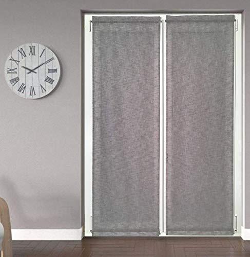 Tende tendine a pannello a vetro per Finestra e porta confezionate su misura-Larghezza cm 45/50/60/65/80 -Tende a Vetro-Tessuto Grigio Effetto Lino (50x225 cm)