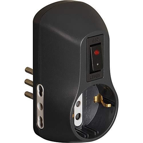 BTicino S3610GB Kit Adattatore Safe 1 Presa Standard Tedesca e 2 Prese 10A con Interruttore di Sicurezza Luminoso-Colore Nero