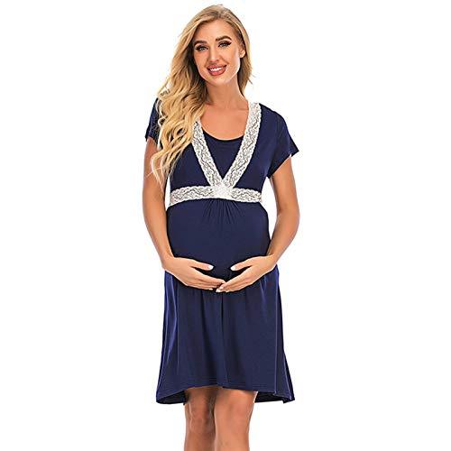 AZHLUF Verano Capas Lactancia Materna Camisetas Maternidad Mujeres sin Mangas Cuello Redondo Bajo Camisetas Cómodas Falda 2 en 1 (S-XXL) (Color : Blue, Size : XX-Large)
