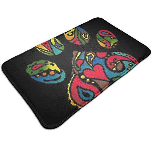 N/A Kleurrijke pootafdruk, deurmat, badmat, ingangsmat, vloermat, tapijt, binnen-/buiten-/badkamermatten, rubber antislip