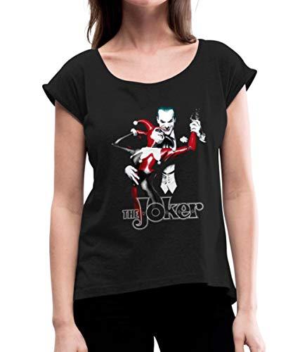 DC Comics Batman Joker Et Harley Quinn T-Shirt À Manches Retroussées Femme, S, Noir