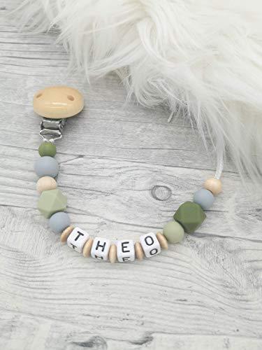 Schnullerkette Holz, grün, Baby Schnullerkette mit Namen, personalisierbar