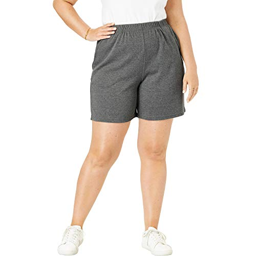 Roamans Women's Plus Size Soft Knit Short Pull On Elastic Waist - 4X, Medium Heather Grey