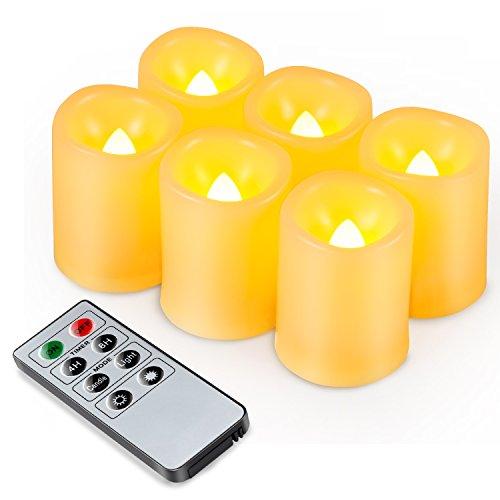 Kohree Pack de 6 Velas LED Sin Llama para Uso en Interiore y Exteriore con Mando a Distancia y Temporizador, Pilas Incluidas para Navidad,Restaurante,Bar,Semana Santa