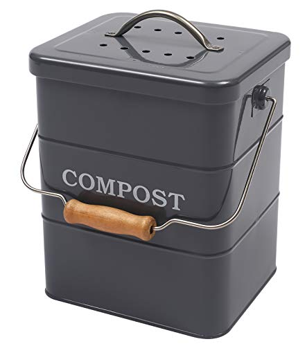 Xbopetda Stainless Steel Compost Bin for Kitchen Countertop 1 Gallon Includes Charcoal FilterCompost Bucket Kitchen Pail Compost with Lid -Gray