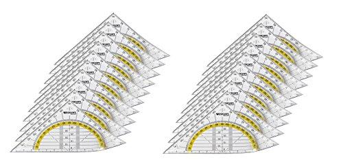 Westcott E-10132 00-I - Squadra geometrica in plastica infrangibile, 14 cm, 20 pz, trasparente