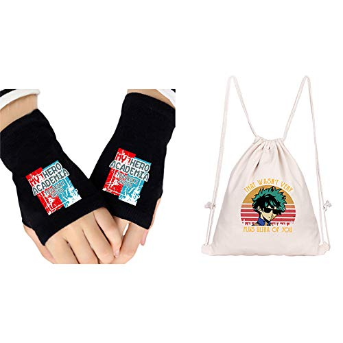 Elibeauty My Hero Academia Fingerless Gloves and Drawstring Bag Sports Backpack Set, Great Gift for MHA Fans